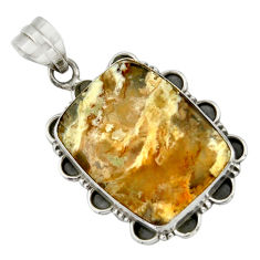 925 sterling silver 19.72cts natural yellow plume agate pendant jewelry r41720