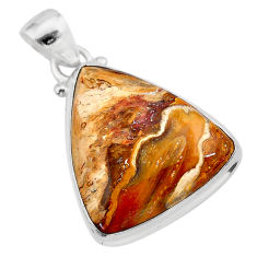 925 sterling silver 16.65cts natural yellow plume agate pendant jewelry t28619