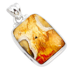 925 sterling silver 15.08cts natural yellow plume agate pendant jewelry t28744