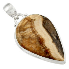 Clearance Sale- 925 sterling silver 26.70cts natural yellow schalenblende polen pendant d41930