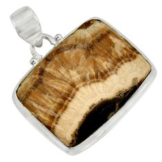 Clearance Sale- 925 sterling silver 36.09cts natural yellow schalenblende polen pendant d41939