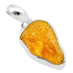 925 sterling silver 10.22cts natural yellow tourmaline pendant jewelry t31198