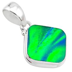 925 silver 4.09cts northern lights aurora opal (lab) cushion pendant t25810