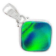 925 silver 3.76cts northern lights aurora opal (lab) cushion pendant t25847