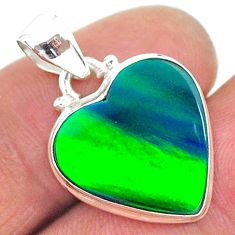 925 silver 7.80cts northern lights aurora opal (lab) heart pendant t17044