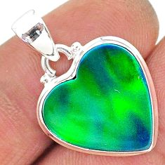 925 silver 7.82cts northern lights aurora opal (lab) heart pendant t17048