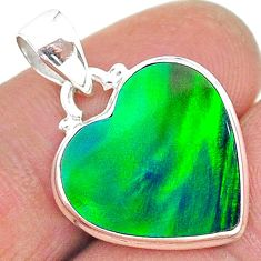 925 silver 7.82cts northern lights aurora opal (lab) heart pendant t17052