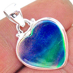 925 silver 8.23cts northern lights aurora opal (lab) heart pendant t17059