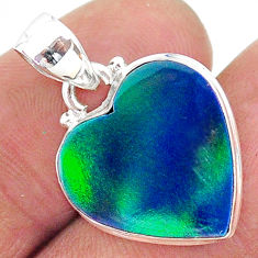 925 silver 5.83cts northern lights aurora opal (lab) heart pendant t17064