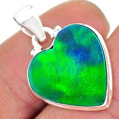 925 silver 6.46cts northern lights aurora opal (lab) heart pendant t17069