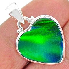 925 silver 5.42cts northern lights aurora opal (lab) heart pendant t17072