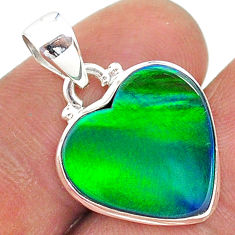 925 silver 6.26cts northern lights aurora opal (lab) heart pendant t17078