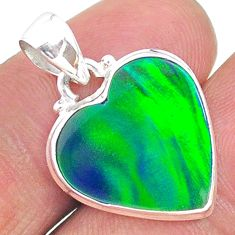 925 silver 6.46cts northern lights aurora opal (lab) heart pendant t17092