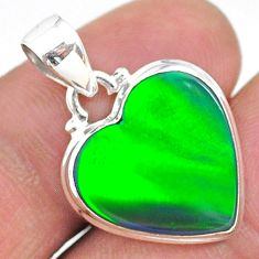 925 silver 7.34cts northern lights aurora opal (lab) heart pendant t17097