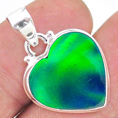 925 silver 7.15cts northern lights aurora opal (lab) heart pendant t17099