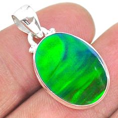 925 silver 5.78cts northern lights aurora opal (lab) oval pendant t17094