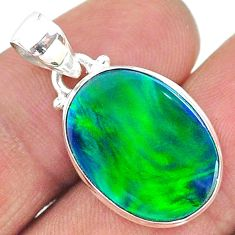 925 silver 6.46cts northern lights aurora opal (lab) oval pendant t17111