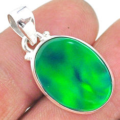 925 silver 5.95cts northern lights aurora opal (lab) oval pendant t17117
