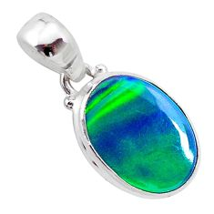 925 silver 3.04cts northern lights aurora opal (lab) oval pendant t25812