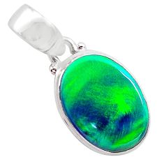 925 silver 4.03cts northern lights aurora opal (lab) oval pendant t25839