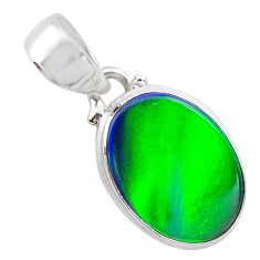925 silver 3.67cts northern lights aurora opal (lab) oval pendant t25844
