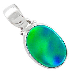 925 silver 3.71cts northern lights aurora opal (lab) oval pendant t25857