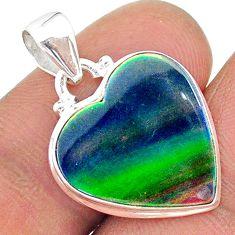 925 silver 6.31cts northern lights aurora opal (lab) pendant jewelry t17073