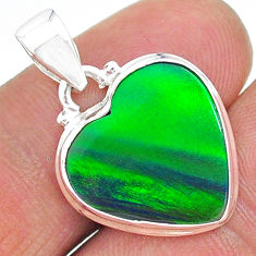 925 silver 6.31cts northern lights aurora opal (lab) pendant jewelry t17095