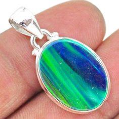 925 silver 6.29cts northern lights aurora opal (lab) pendant jewelry t17109