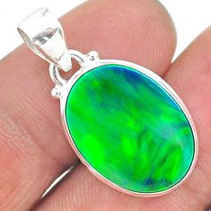 925 silver 6.79cts northern lights aurora opal (lab) pendant jewelry t17120