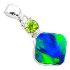 925 silver 4.77cts northern lights aurora opal (lab) peridot pendant t26012