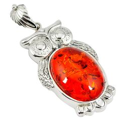 925 sterling silver orange amber oval shape owl pendant jewelry c22569