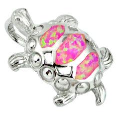 925 sterling silver pink australian opal (lab) turtle pendant jewelry c15671