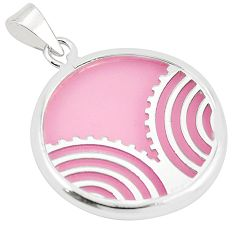 925 sterling silver pink bling topaz (lab) round pendant jewelry c23143