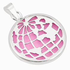 925 sterling silver pink bling topaz (lab) round pendant jewelry c23151