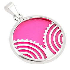 925 sterling silver pink bling topaz (lab) round pendant jewelry c23212