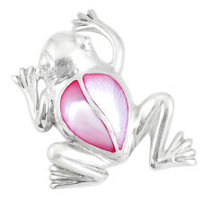 925 sterling silver 4.89gms pink pearl enamel frog pendant jewelry a93258 c14648