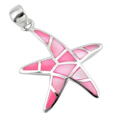 925 sterling silver 4.69gms pink pearl enamel star fish pendant a88585 c14472