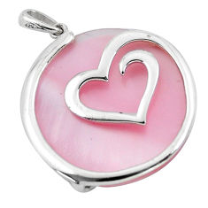 925 sterling silver 14.72cts pink pearl heart pendant jewelry a91877 c14591