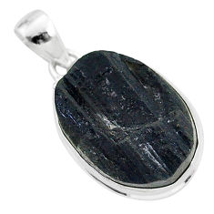 925 sterling silver protector stone black tourmaline raw oval pendant r96703