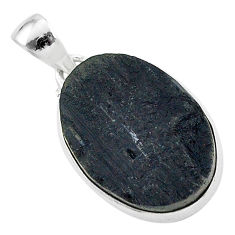 925 sterling silver protector stone black tourmaline raw oval pendant r96706