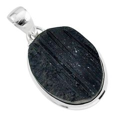 925 sterling silver protector stone lack tourmaline raw oval pendant r96710