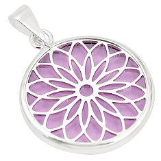 925 sterling silver purple bling topaz (lab) round pendant jewelry c21922
