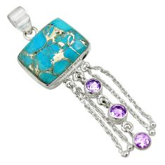925 sterling silver 24.73cts purple copper turquoise amethyst pendant d41739