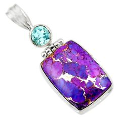 Clearance Sale- 925 sterling silver 17.57cts purple copper turquoise blue topaz pendant d41784