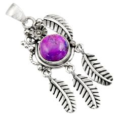 Clearance Sale- 925 sterling silver 5.53cts purple copper turquoise dreamcatcher pendant d44891