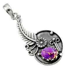 925 sterling silver 3.15cts purple copper turquoise flower pendant d44864