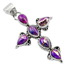 925 sterling silver 9.22cts purple copper turquoise holy cross pendant r47956