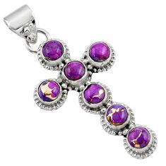 925 sterling silver 6.76cts purple copper turquoise holy cross pendant r48009