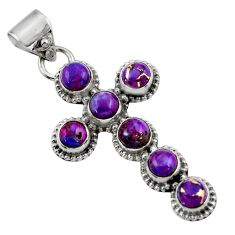 925 sterling silver 6.76cts purple copper turquoise holy cross pendant r48031
